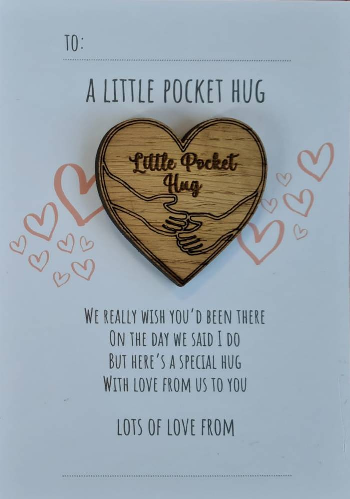 """Wish You Could Have Been There"" Wedding Favour Hug Token"